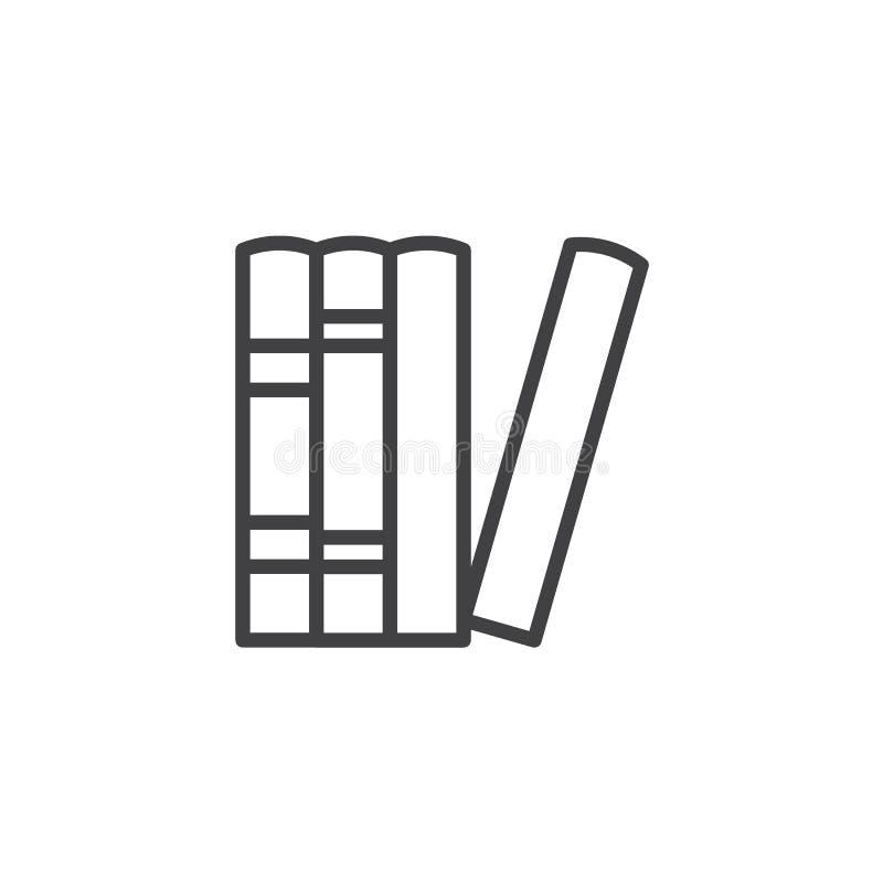 Reserva el icono del esquema de la biblioteca stock de ilustración