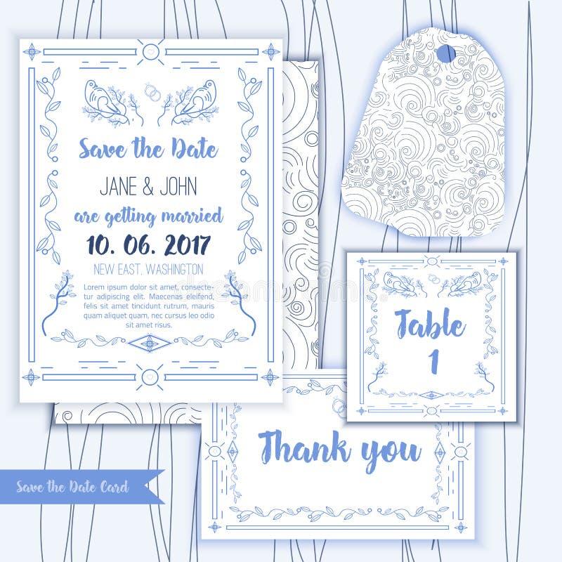 Reserva imprimible la fecha con el marco azul geométrico en estilo linear el elemento para el diseño con la tabla y le agradece l libre illustration