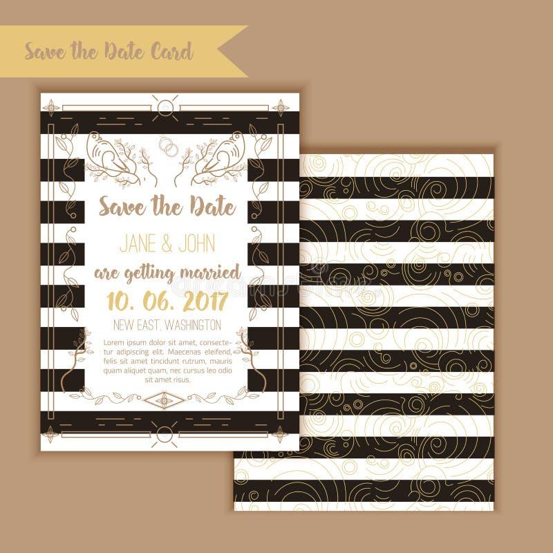 Reserva imprimible la fecha con el marco geométrico del oro en estilo linear elemento para el diseño con el menú y las tarjetas d libre illustration