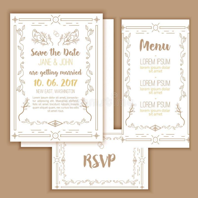 Reserva imprimible la fecha con el marco geométrico del oro en estilo linear elemento para el diseño con el menú y las tarjetas d stock de ilustración