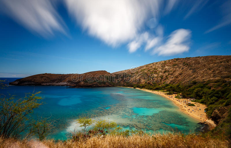 Reserva natural de la bahía de Hanauma en Oahu Hawaii foto de archivo