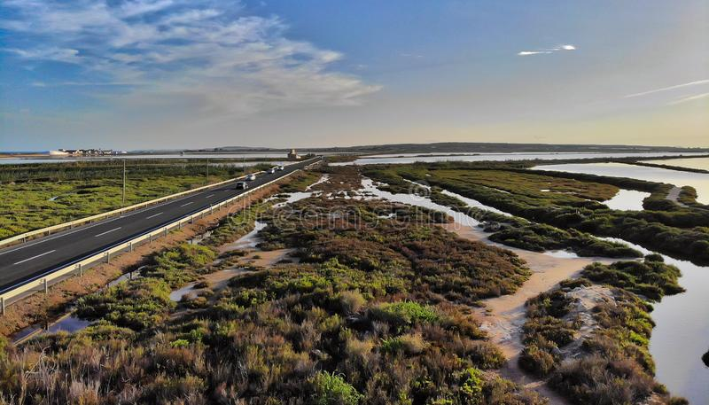Reserva natural de Santa Pola Salt Lakes spain fotografia de stock