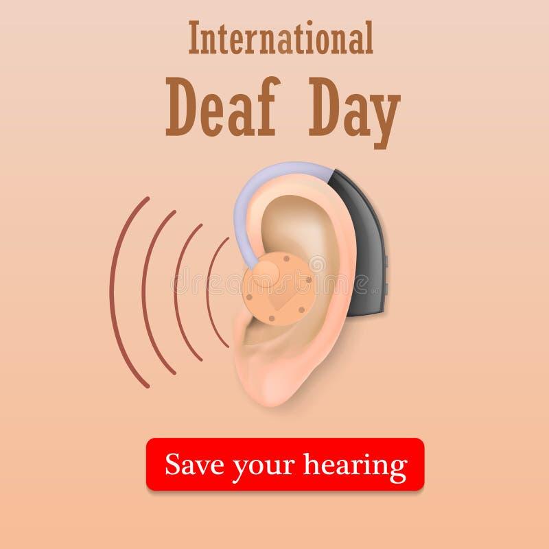 Reserva sorda del día su fondo del concepto de la audiencia, estilo realista ilustración del vector
