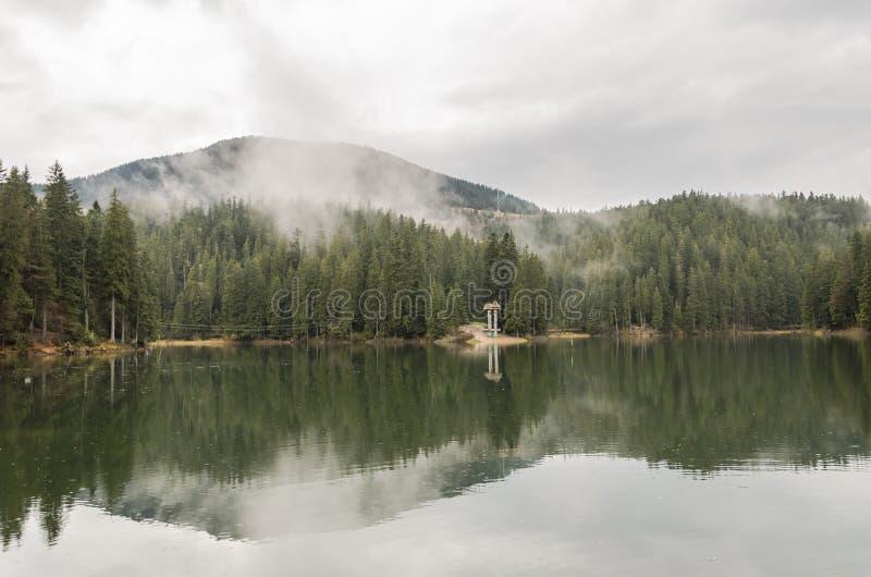 Reserva Synevyr nos Carpathians, um dia chuvoso do lago mountain com as nuvens nas ?rvores fotografia de stock royalty free