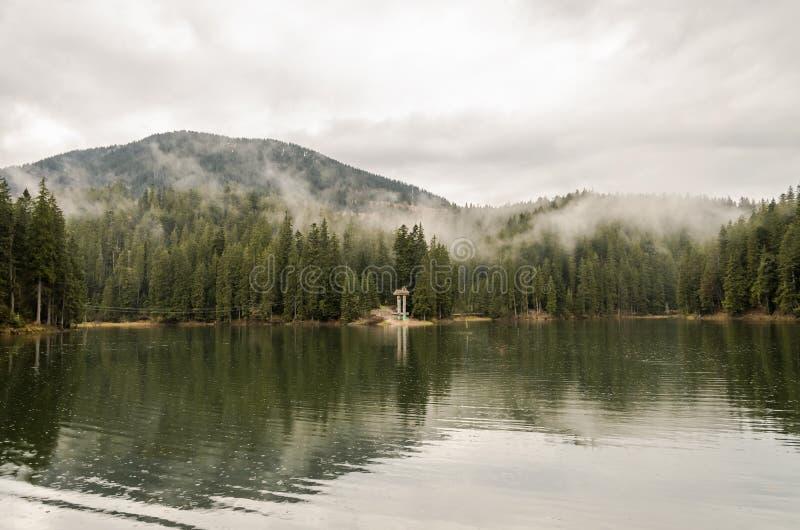 Reserva Synevyr nos Carpathians, um dia chuvoso do lago mountain com as nuvens nas ?rvores foto de stock royalty free