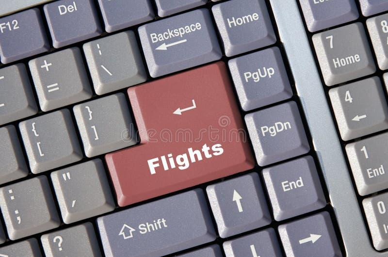 Reservación en línea del vuelo fotografía de archivo