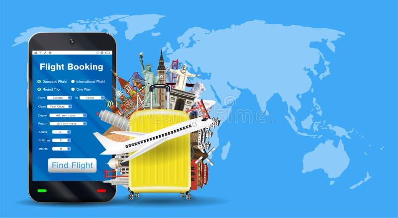 Reservación en línea del vuelo de Smartphone con el bolso del viaje libre illustration