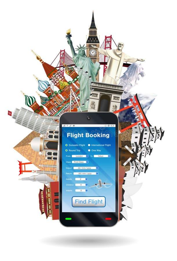 Reservación en línea del vuelo de Smartphone con la señal libre illustration