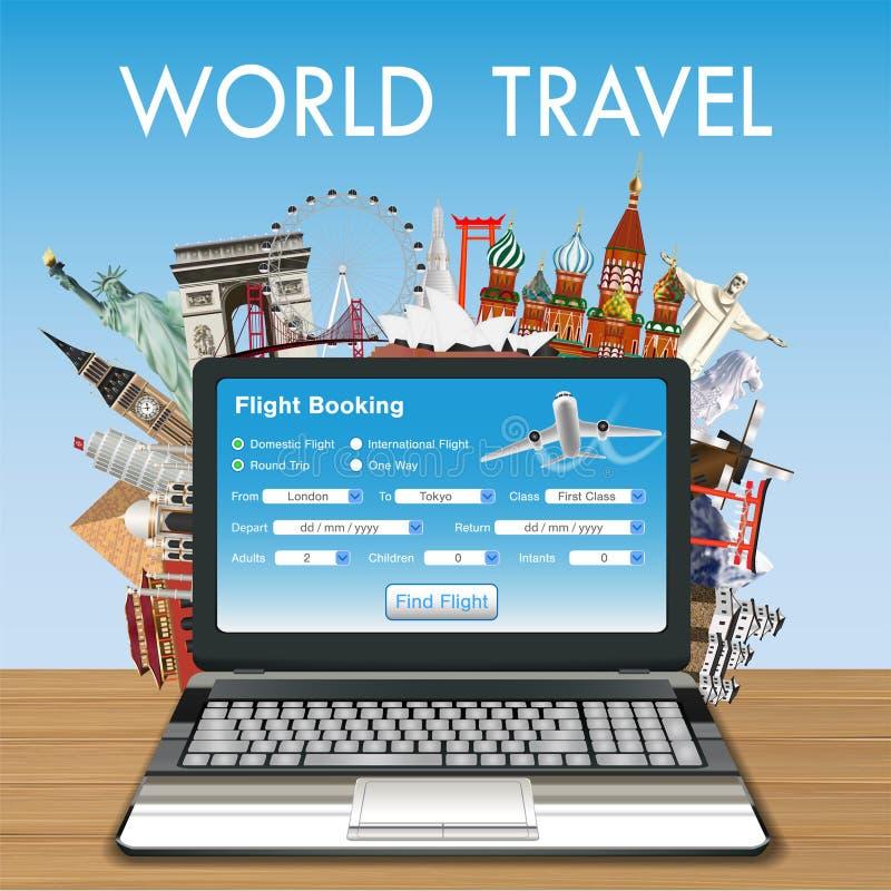 Reservación en línea del vuelo del ordenador portátil con la señal del viaje libre illustration