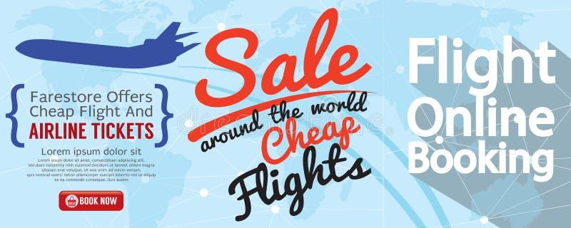 Reservación en línea del vuelo para la bandera de la venta 1500x600 stock de ilustración