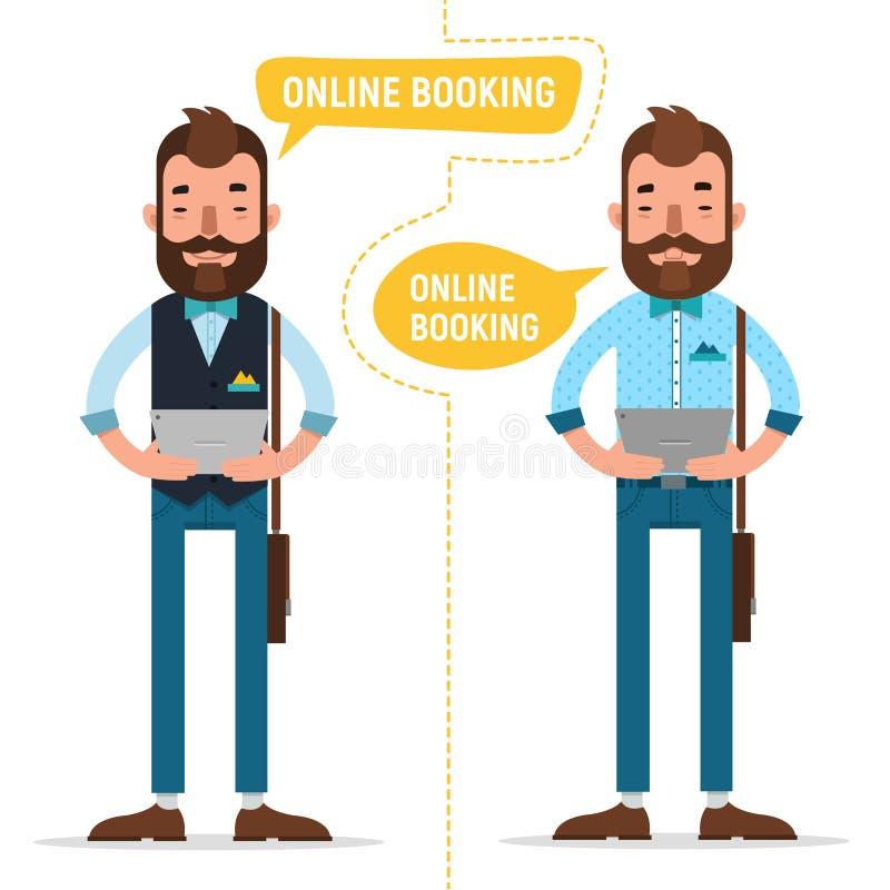 reservación en línea Hombre con la tableta que hace la orden en línea, parador de reservación del alojamiento, boletos de reserva libre illustration