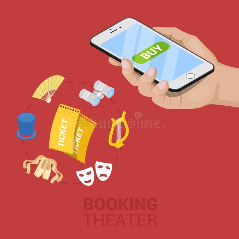 Reservación en línea isométrica del boleto de teatro libre illustration