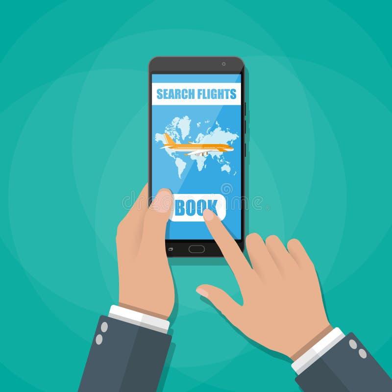 Reservación en línea para los billetes de avión stock de ilustración