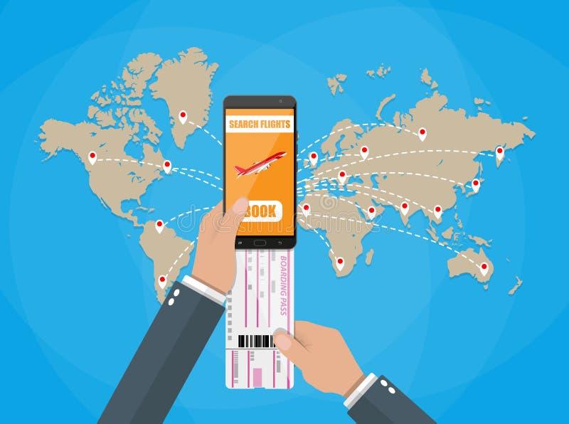 Reservación en línea para los billetes de avión, mapa del mundo ilustración del vector