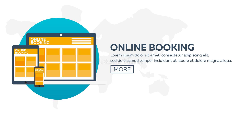 reservación en línea Planeamiento de las vacaciones, viaje, viaje Tiempo de viaje Diseño plano ilustración del vector