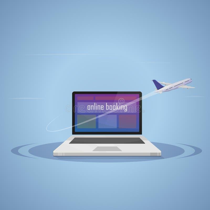 Reservación en línea Viajes ilustración del vector