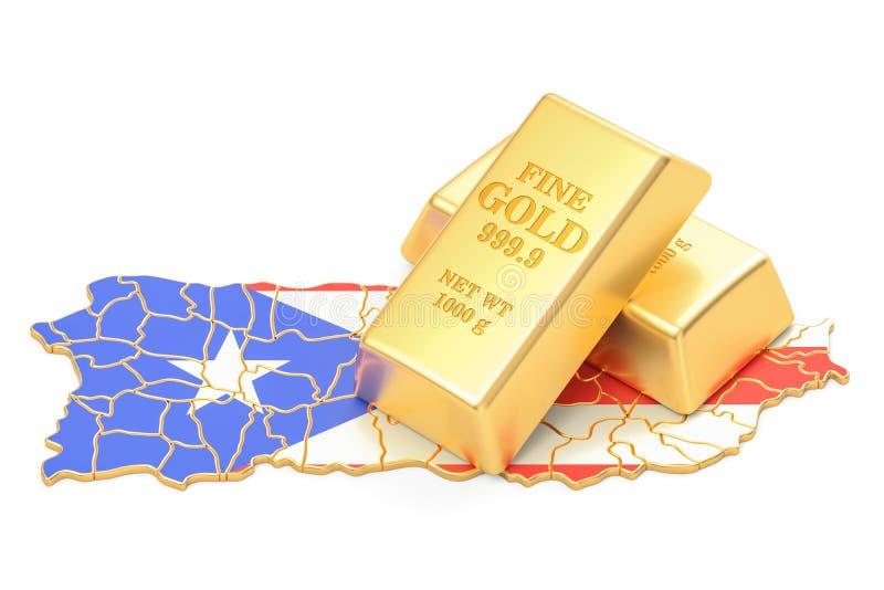 Reservas douradas do conceito de Porto Rico, rendição 3D ilustração do vetor