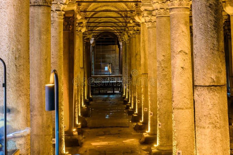 Reservatório da basílica, umas reservas de água subterrâneas em Istambul foto de stock