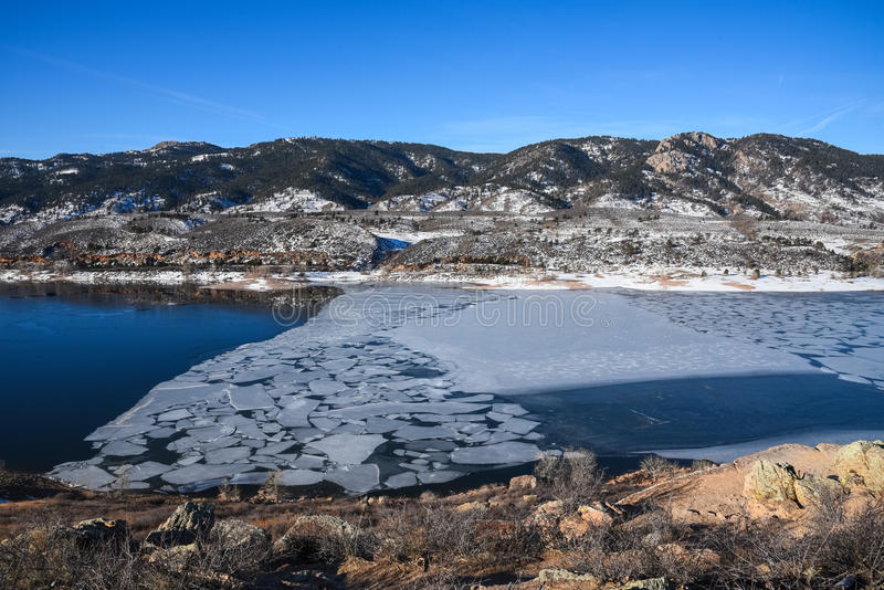 Reservatório de Horsetooth, Fort Collins, Colorado no inverno fotos de stock