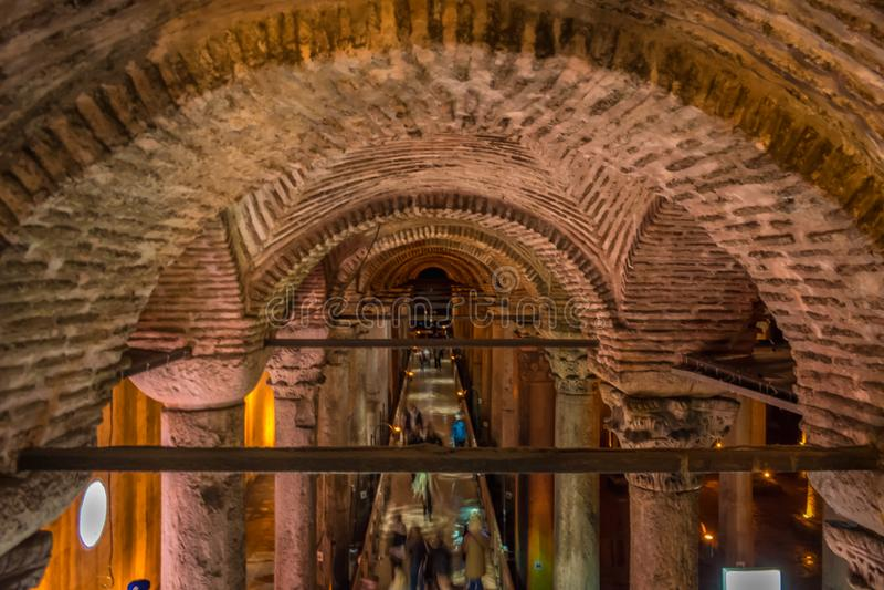 Reservatório subterrâneo da basílica, Istambul, Turquia imagem de stock