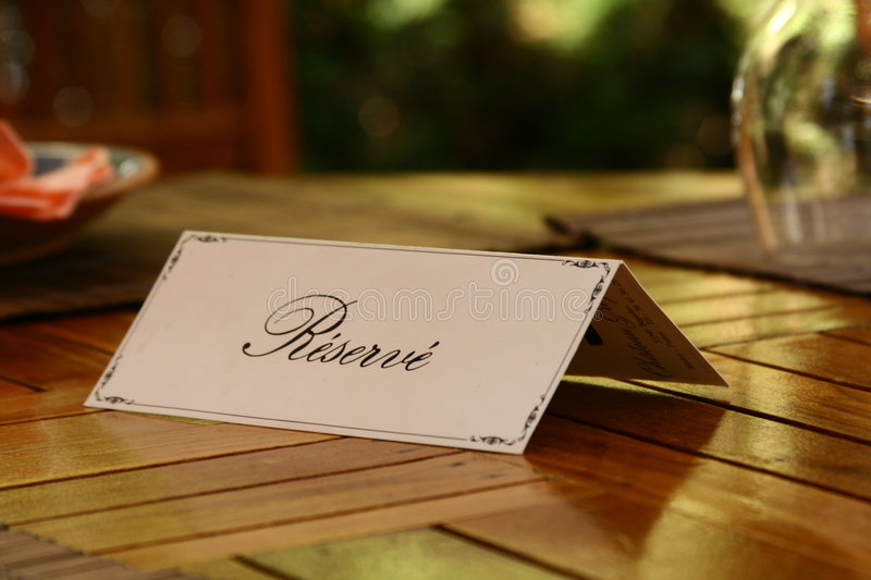 Reservation. Card on a Table royalty free stock image
