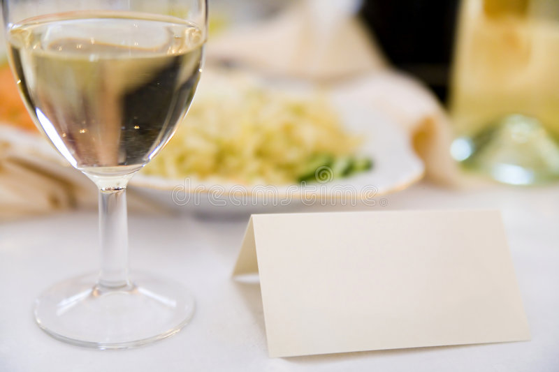 Reservation. Blank reservation card on the table in restaurant royalty free stock photos