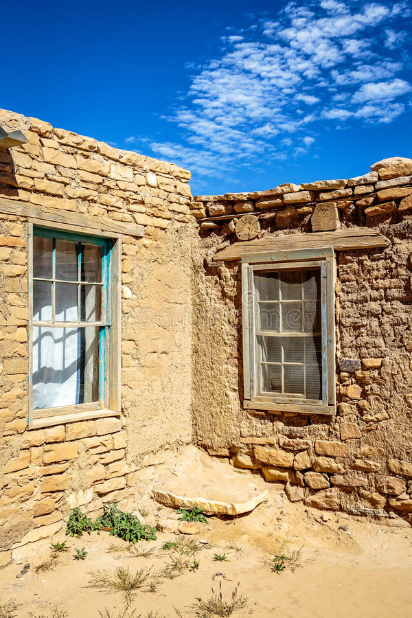 On the Reservation. Adobe, mud and brick houses sit high atop a mesa on the Indian reservation royalty free stock images