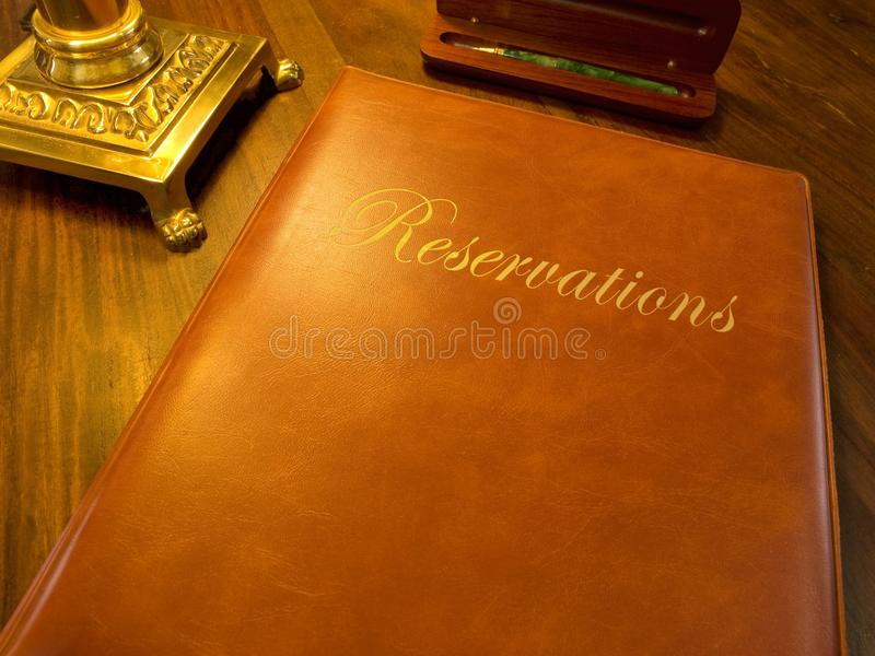 Reservation book of a restaurant hotel etc. Reservation book of a fine restaurant or hotel etc royalty free stock images