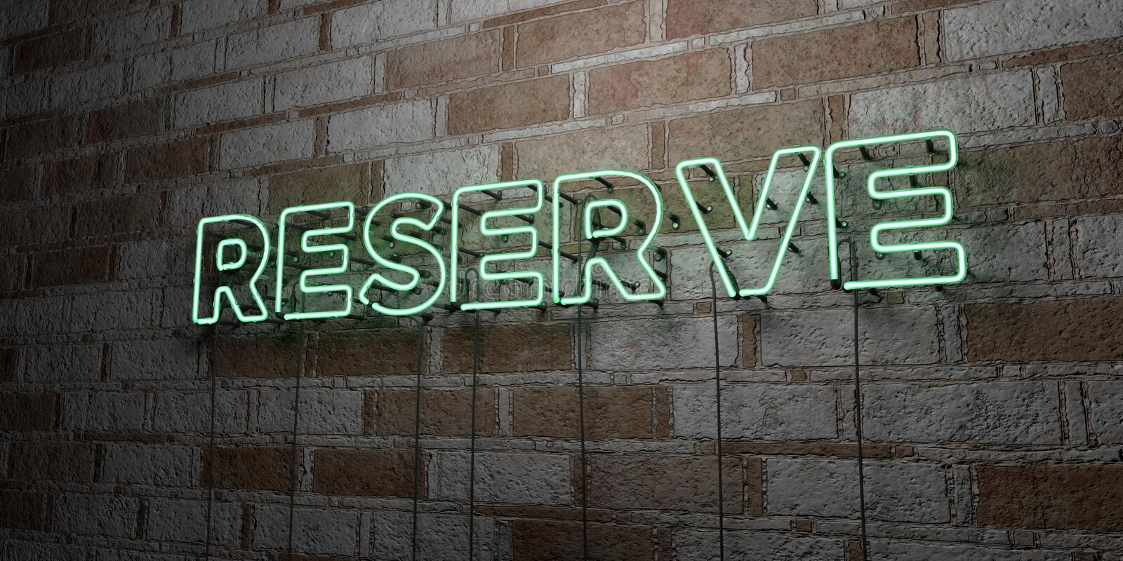 RESERVE - Glowing Neon Sign on stonework wall - 3D rendered royalty free stock illustration vector illustration