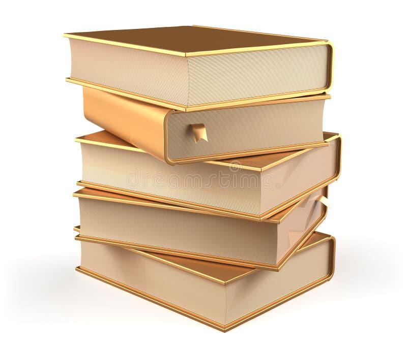 Reserve la pila de oro de cinco libros de texto de espacio en blanco del oro de las cubiertas de libros libre illustration