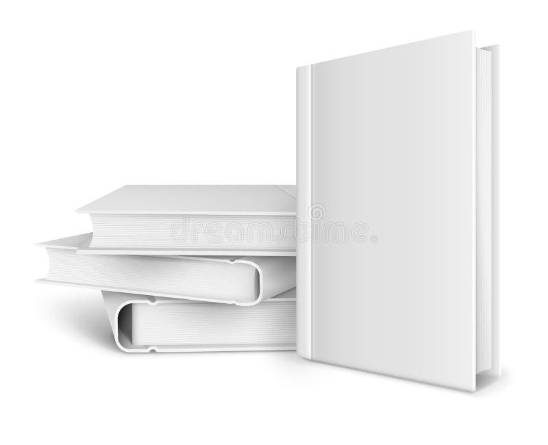 Reserve la plantilla con la cubierta en blanco y la pila de libros ilustración del vector