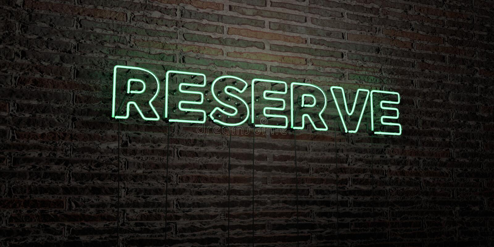 RESERVE -Realistic Neon Sign on Brick Wall background - 3D rendered royalty free stock image vector illustration