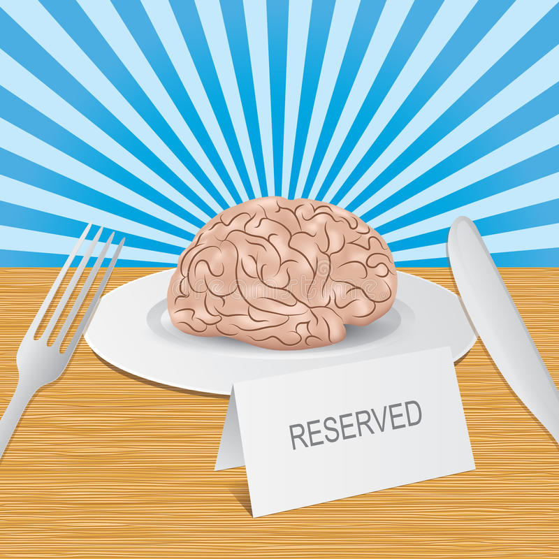 Download Reserved Brain Lies On A Plate Stock Illustration - Illustration of brain, fork: 28287896