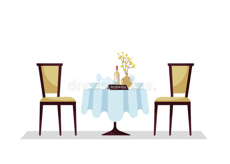 Reserved expensive restaurant round table with tablecloth, plant, wineglasses, wine bottle, teapot, cuts, reservation tabletop royalty free illustration