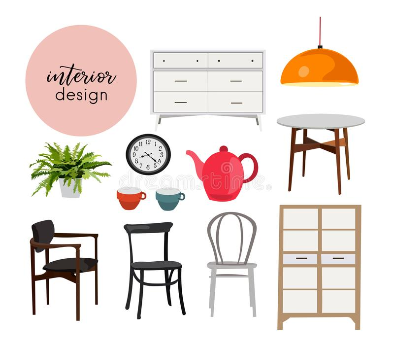 Download Vector Interior Design Illustration Dining Room Kitchen Furniture Chair Table Home House