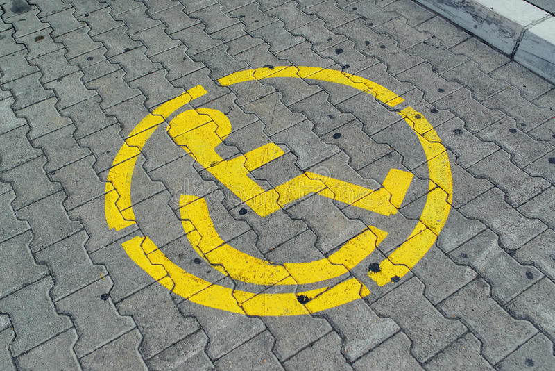 Reserved parking space lot for disabled person stock photography