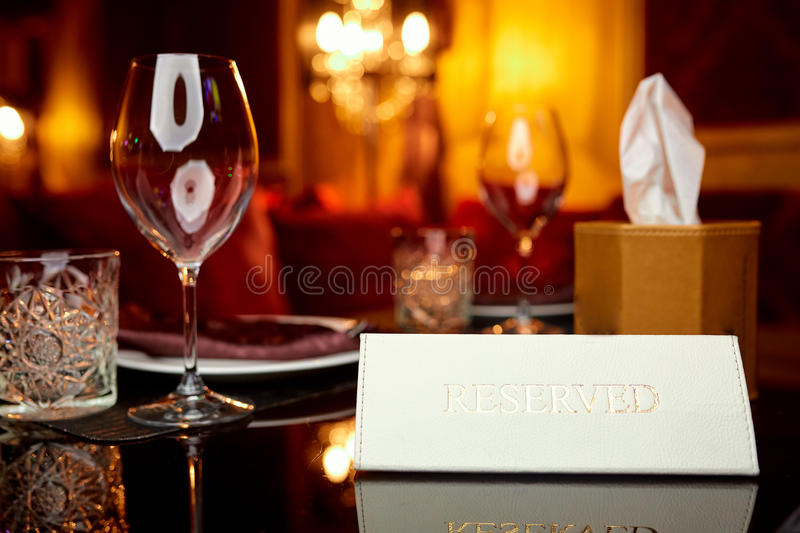 Reserved plate on the table royalty free stock image