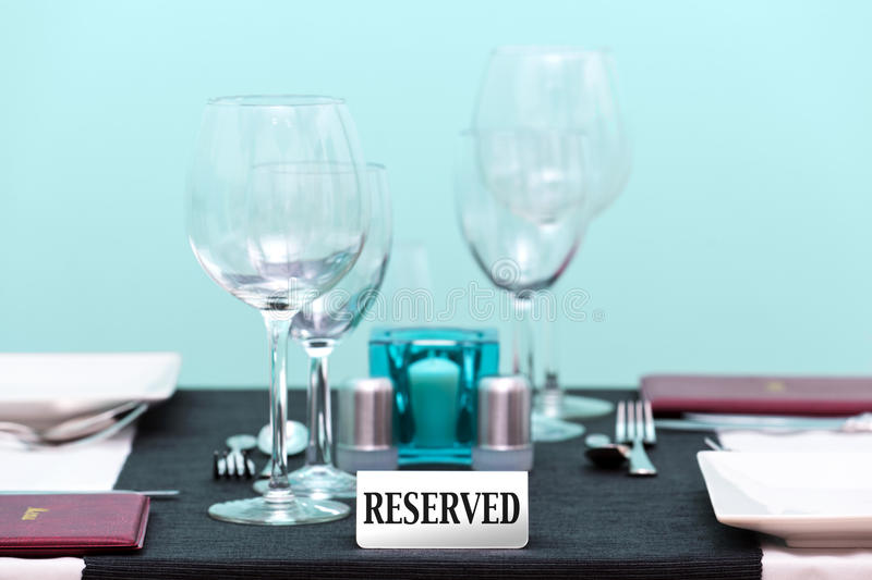 Reserved Restaurant Table Setting Royalty Free Stock Photos
