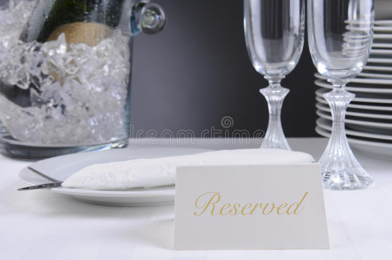 Reserved Sing On Restaurant Table Stock Photos