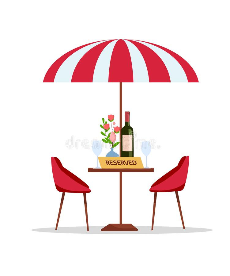 Reserved table in park cafe under parasol. Flat cartoon vector illustration on white fond. Round table with flowers in vase, vector illustration