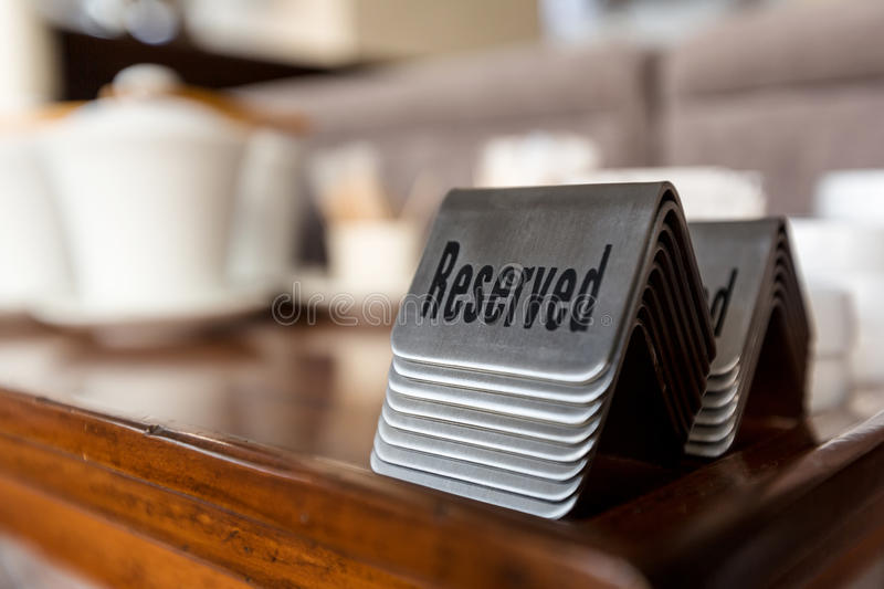 Reserved table signs royalty free stock image
