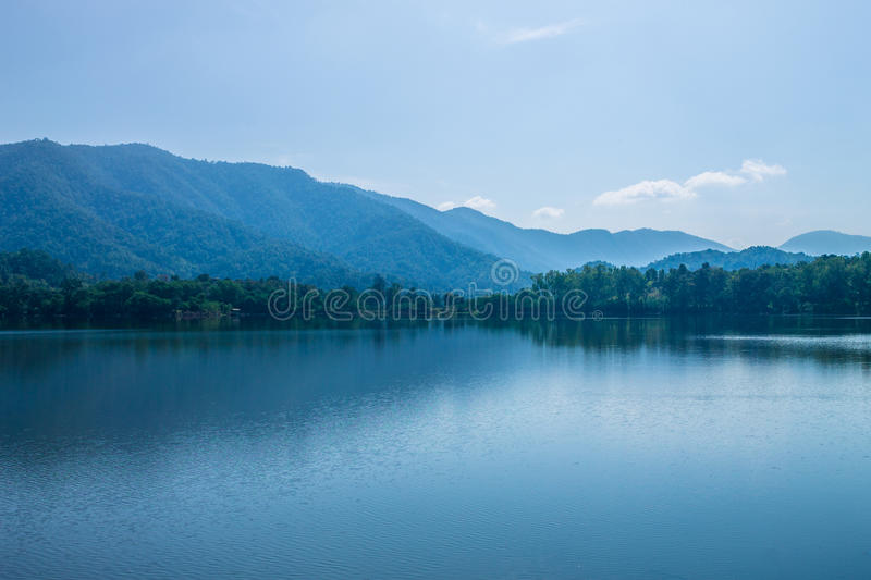 Reserved water at Mae On irrigation dam. ChiangMai, Thailand. December, 13-2016: The available quantity of water has been reserved at the irrigation dam as the stock photography