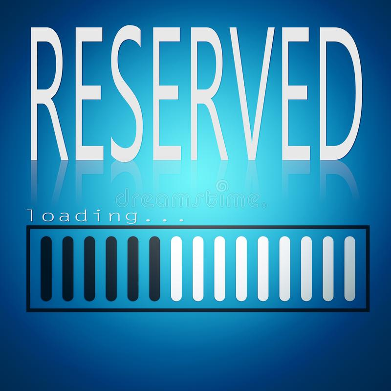 Reserved word with blue loading bar. 3D rendering stock illustration
