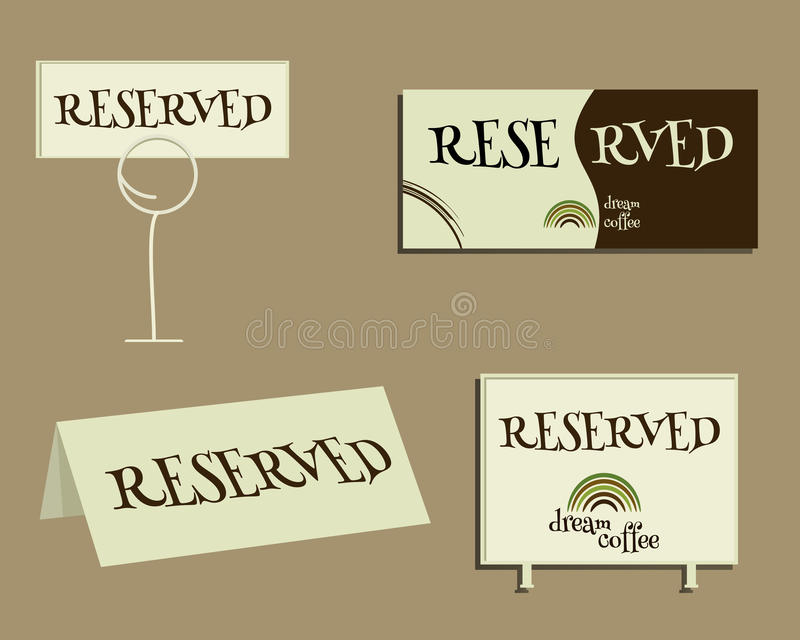Reserveteken Met het Groene ontwerp van het koffieembleem royalty-vrije illustratie