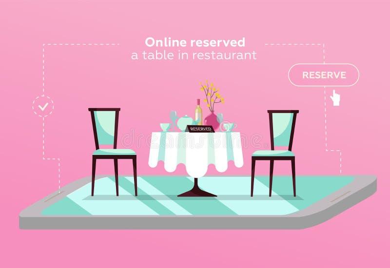 Reservierte on-line-Tabelle im Café Konzept aufgehoben im Restaurant Flache Restauranttabelle auf Smartphone mobiler Reservierung lizenzfreie abbildung
