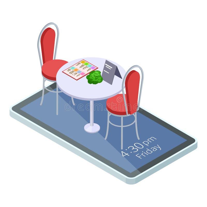 Reservierte on-line-Tabelle im Café oder Restaurant mit isometrischem Konzept des mobilen App stock abbildung