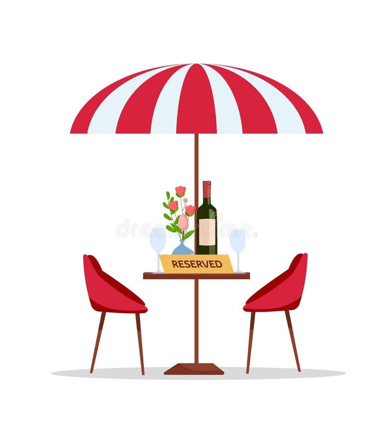Reservierte Tabelle im Parkcafé unter Sonnenschirm Flache Karikaturvektorillustration auf weißem vernarrtem Rundtisch mit Blumen  vektor abbildung