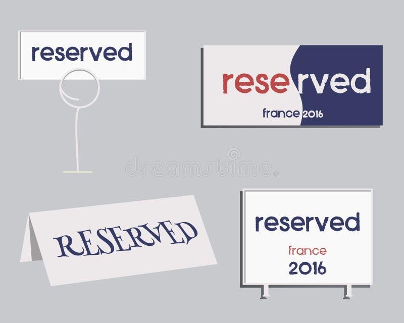 Reservierungs-Zeichen Frankreich-Fußballdesign 2016 E lizenzfreie abbildung