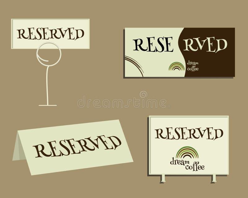 Reservierungs-Zeichen Mit Rohkaffeelogodesign lizenzfreie abbildung