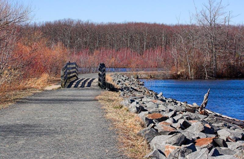 Reservoir in de Winter stock foto